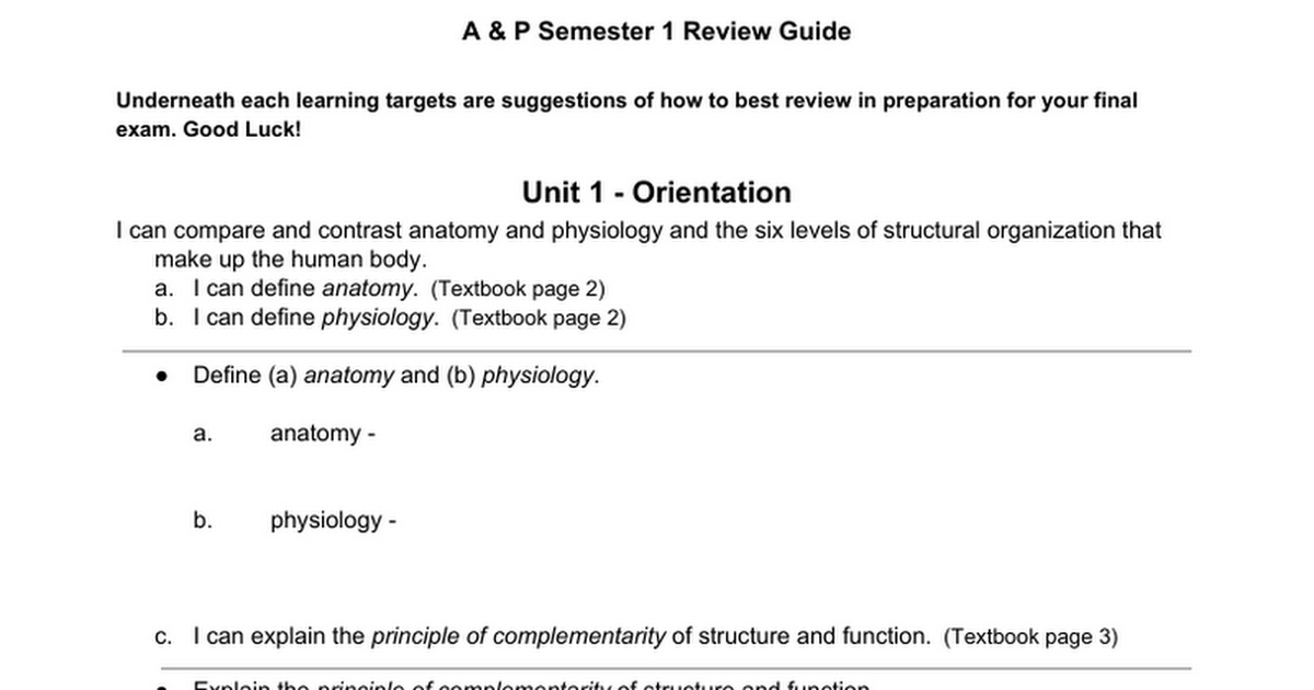 Learning Target Semester 1 Review Guide - Google Docs