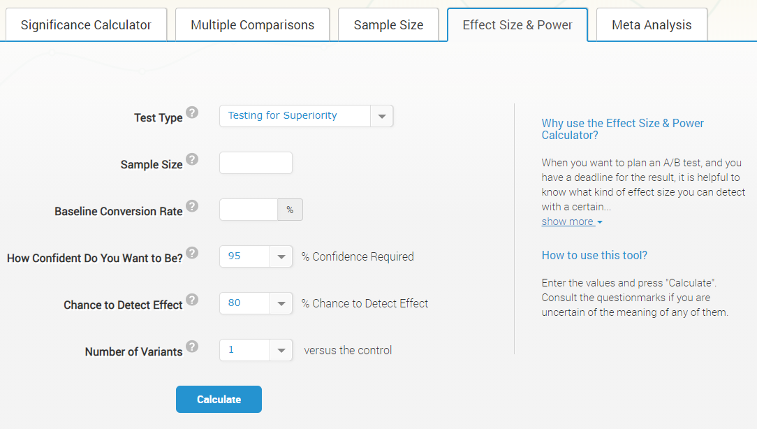 Effect size & power calculator in Analytics toolkit