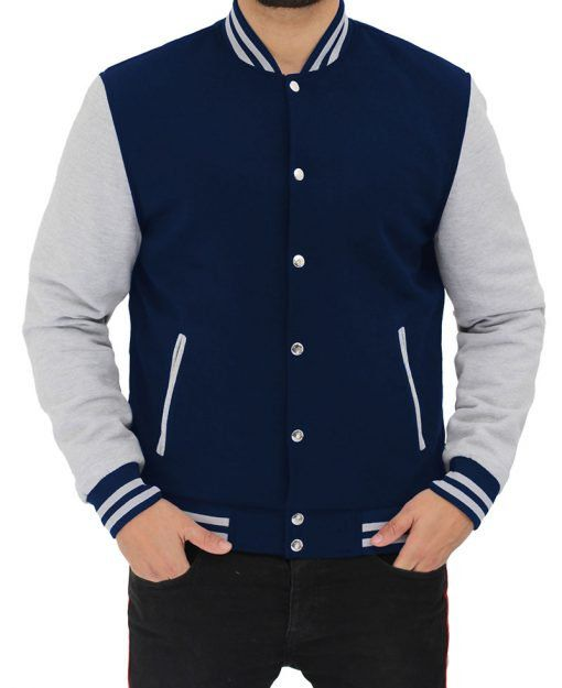 man in a varsity jacket