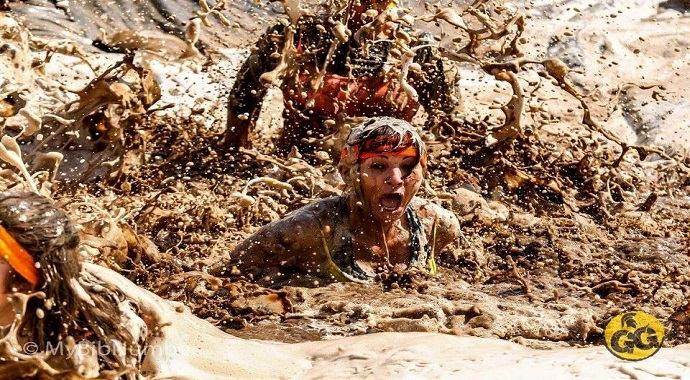 Getty muddy at an obstacle race