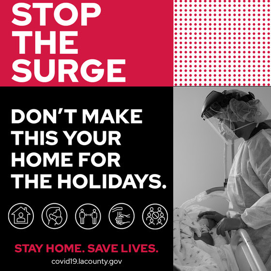 LACounty Dept Health Photo of nurse by hospital bed - Don't Make This Your Home for The Holidays