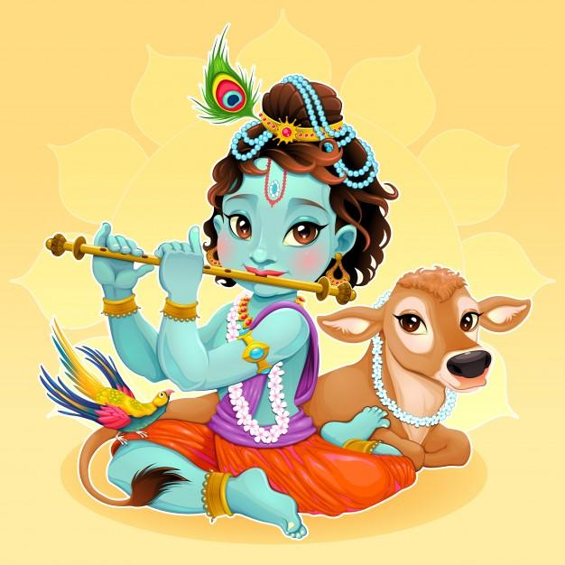 Cute illustration of krishna