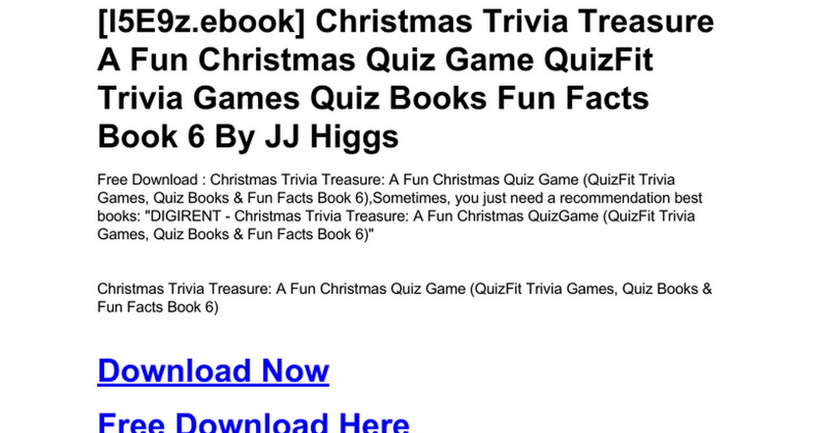 christmas trivia treasure a fun christmas quiz game quizfit trivia games quiz books fun facts book 6doc google docs - Fun Christmas Trivia