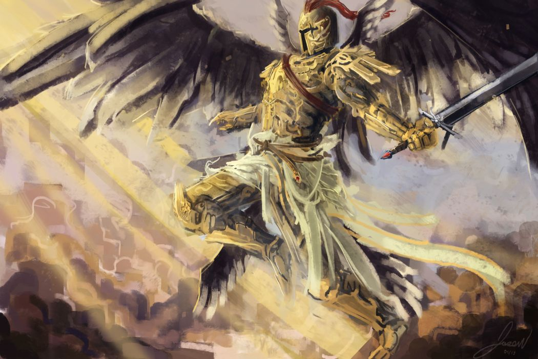 Angels Warriors Painting Art Wings Armor Fantasy warrior angel wallpaper