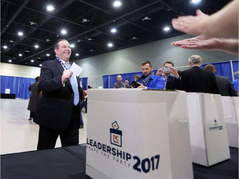 Jason Kenney casts his vote during the PC leadership convention in downtown Calgary on Saturday March 18, 2017.