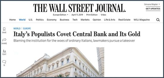 wall street journal italie or banque centrale