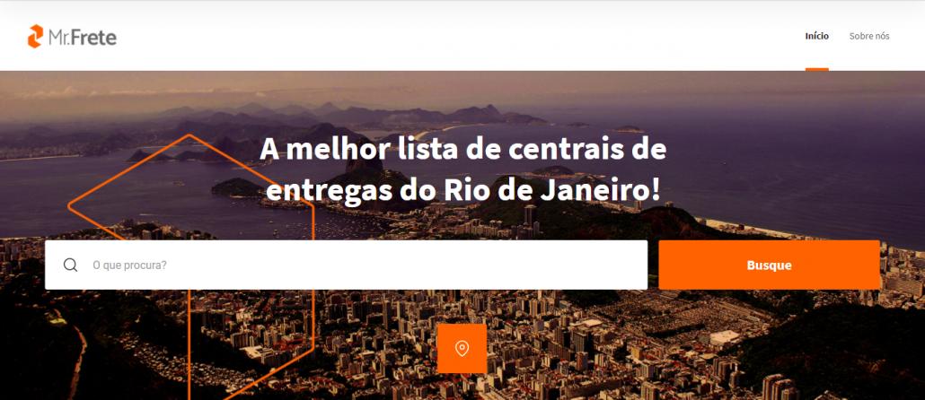 """Tela do Mr. Frete, há imagem da cidade do Rio de Janeiro ao fundo. Em destaque, a frase """"a melhor lista de centrais de entregas do Rio de Janeiro"""","""