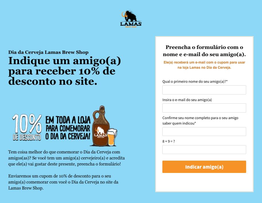 Imagem da Landing Page do Dia da Cerveja - Vendas por e-mail no e-commerce.