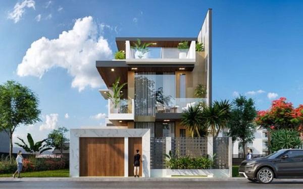 Thiết kế nhà 3 tầng hiện đại vật liệu phong phú, không gian mở tiện nghi