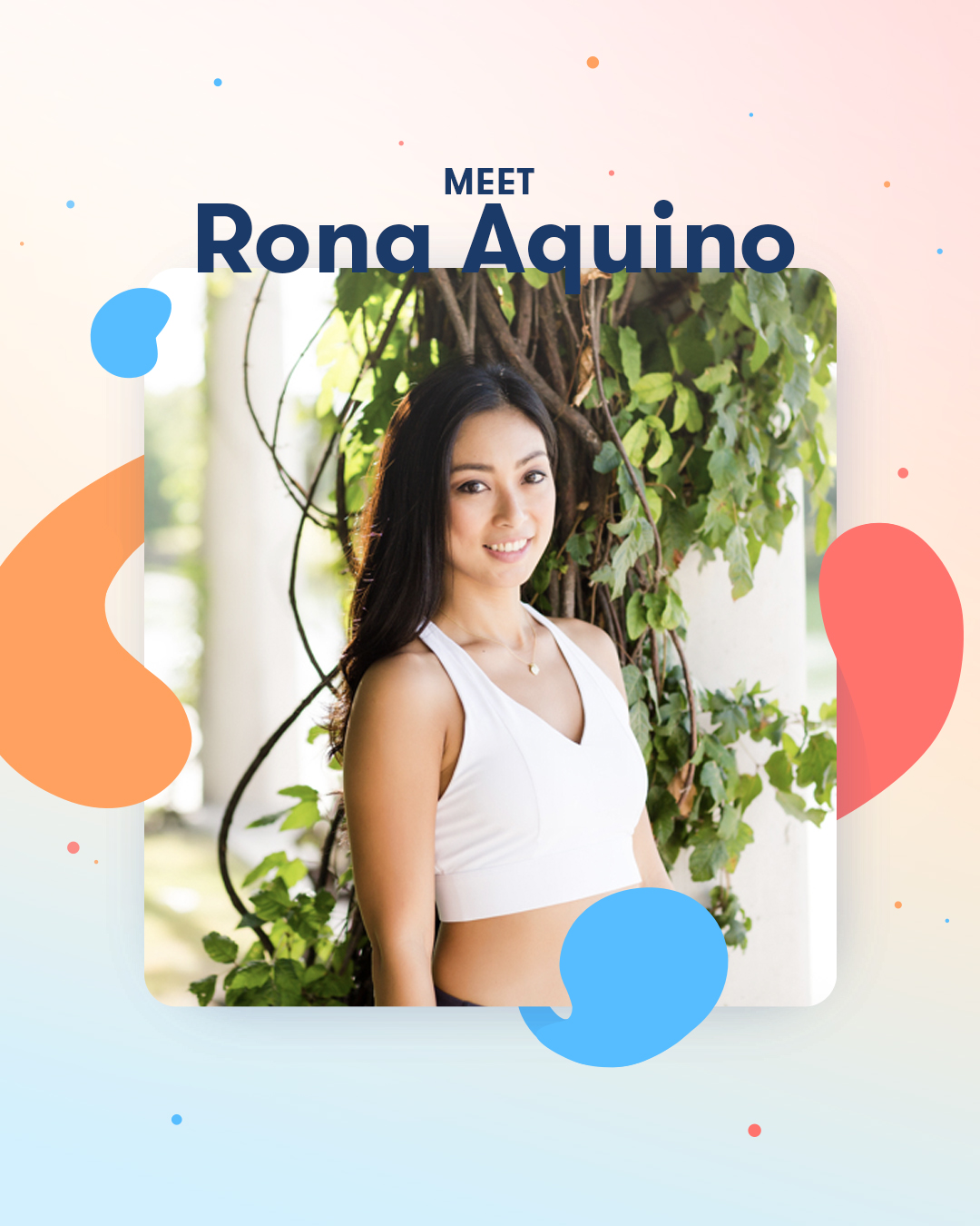 Rona Aquino stands in a white shirt with her hair down, up against a leafy vine.