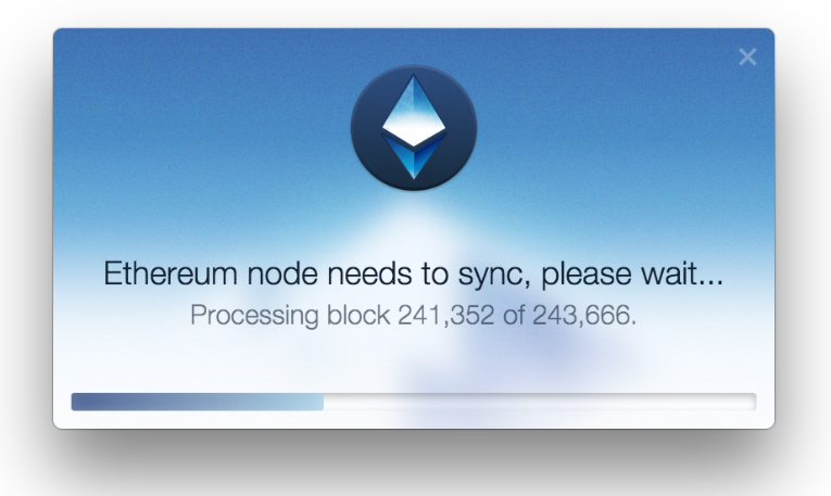 Mist wallet shows a progress bar as it is syncing the ETH node. This process can take a while.