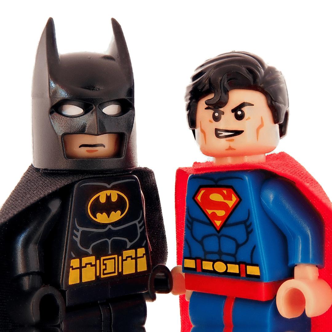Batman and Superman figures