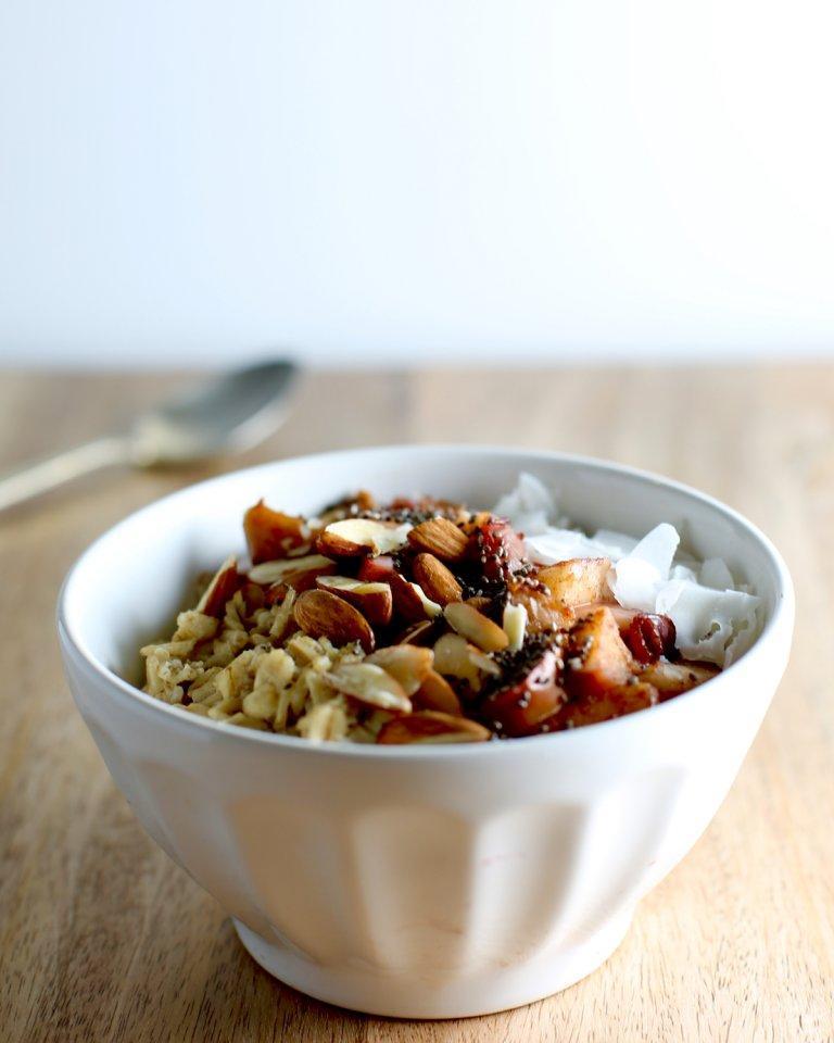 Spiced Apple Oatmeal Breakfast Bowl Side View