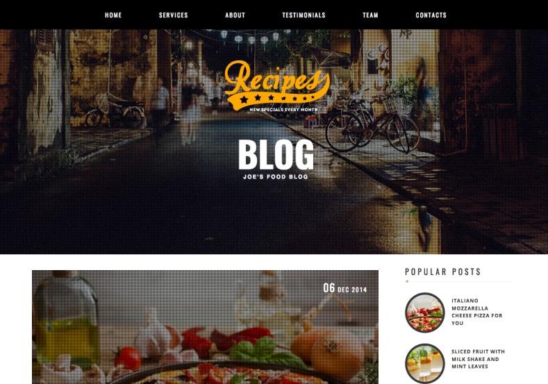 Rekomendasi template blogger gratis untuk personal blog: Recipes