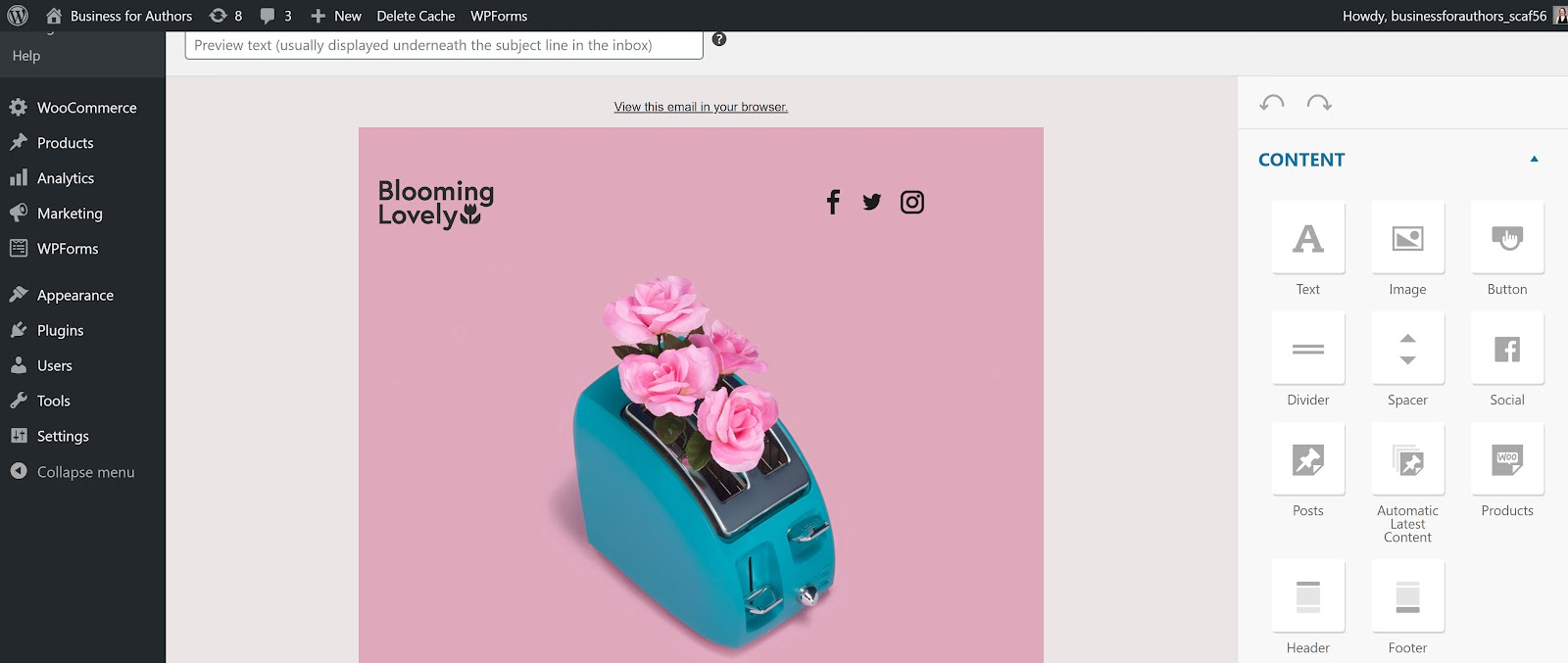 screenshot of MailPoet's WooCommerce email editor