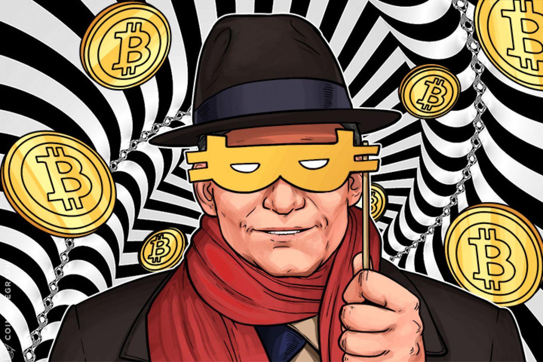 Orang asing dengan syal merah dan bitcoin di sekitarnya