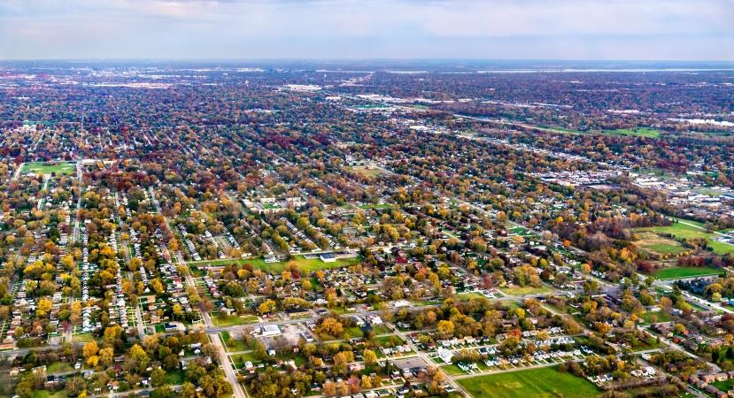 suburban area near Detroit