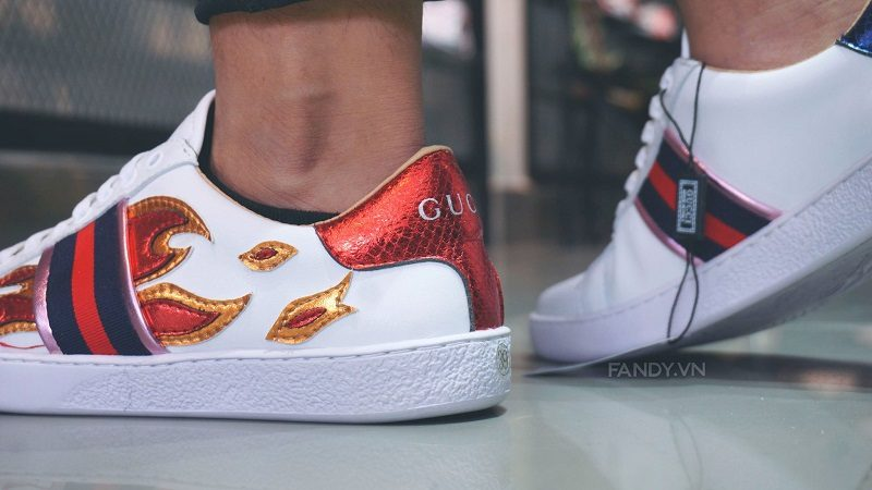 giay gucci ace flame white