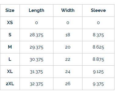 XS Length = 27.375/ Width 16.5.
