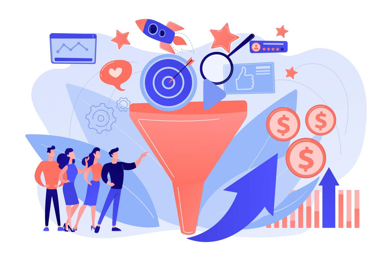 An illustration of a marketing funnel in a digital media context