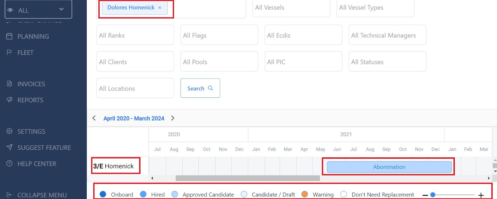 screenshot of the page showing Dolores' calendar