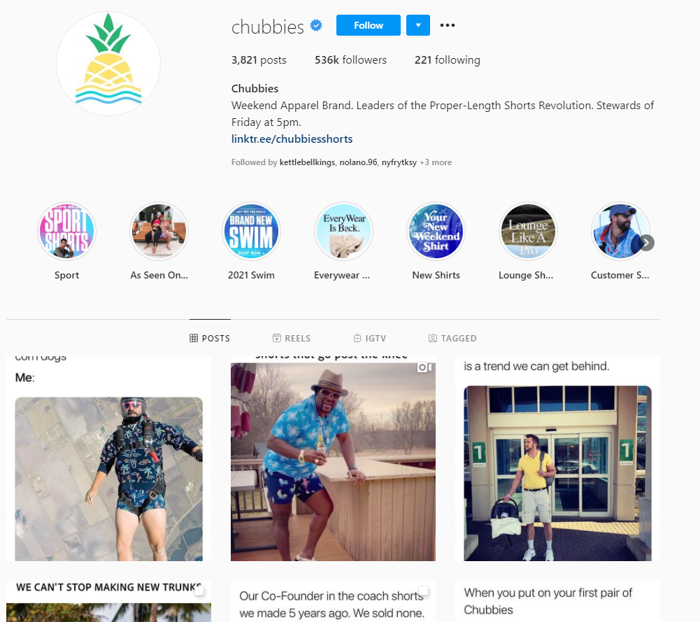 Best brands on Instagram: Chubbies