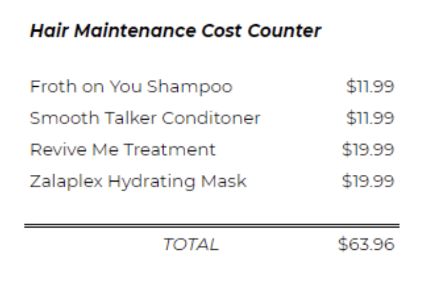 hair maintenance costs counter-3
