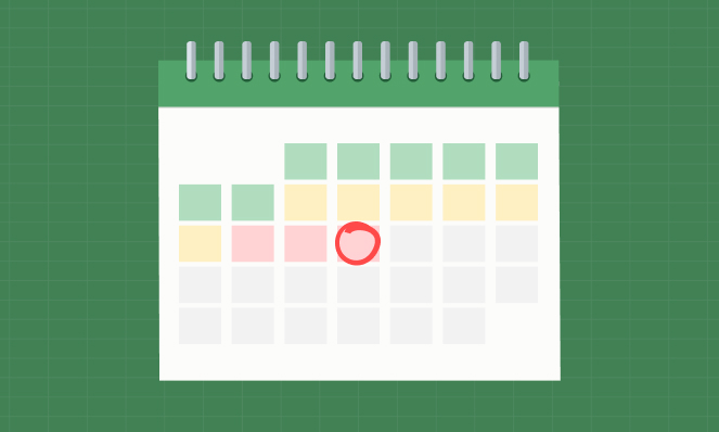 Alt text: A calendar with the middle of the month circled in red
