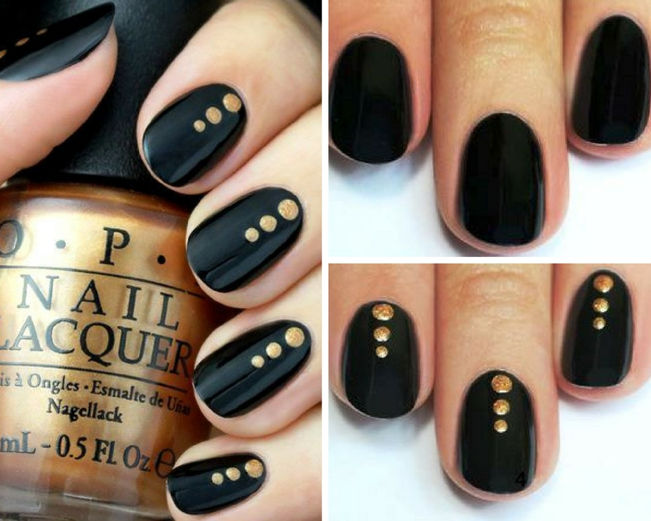 12 nail designs you can do on your own top beauty lifestyle blog i mean look how three simple gold dots change a common black mani by the way this minimalist nail art idea that you can easily do yourself solutioingenieria Images