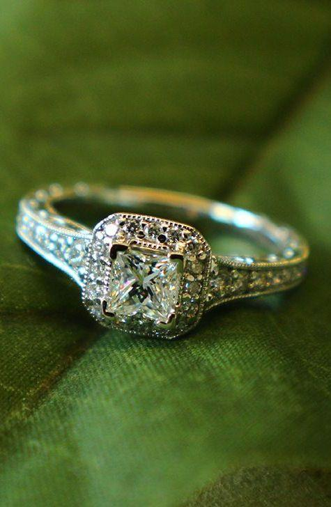 Victorian Halo Engagement Ring: