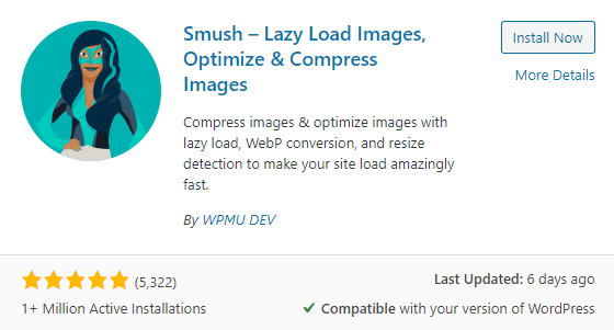 Smush Image wordpress plugin