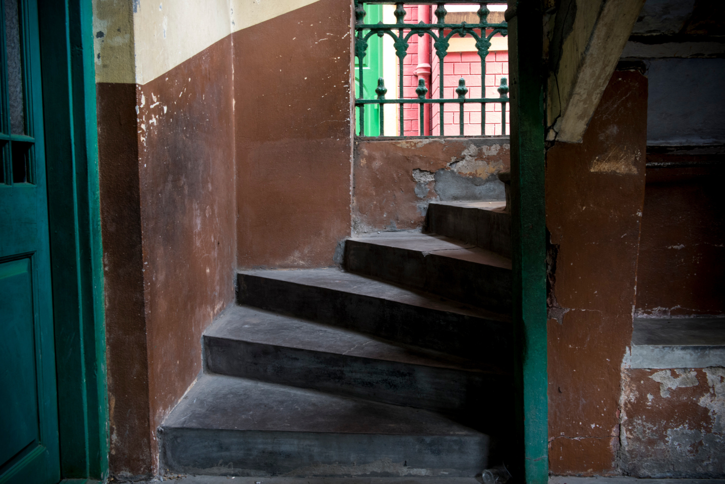 KOLKATA, INDIA 1 SEPT: Images from the Saint Teresa School, located about 200 meters from the Mother House of the Missionaries of Charity. Mother Teresa taught at the school, and began her first efforts at serving the poor from a stairwell within the school. She provided medicine for those who were unable to afford it. PICTURED: The actual stairs that Mother Teresa would sit upon and distribute medicine to those in need.