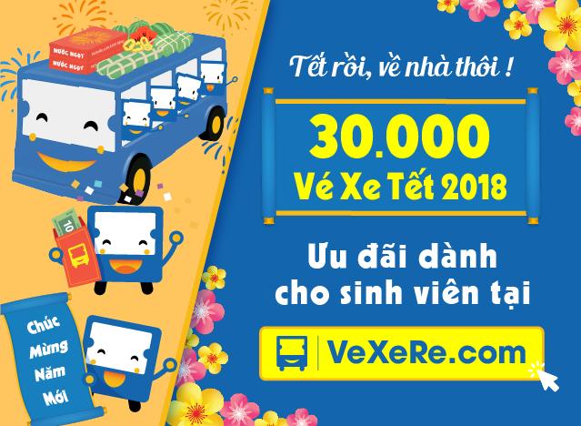 30 000 Vé xe Tết 2018 ưu đãi dành cho sinh viên tại VeXeRe.com