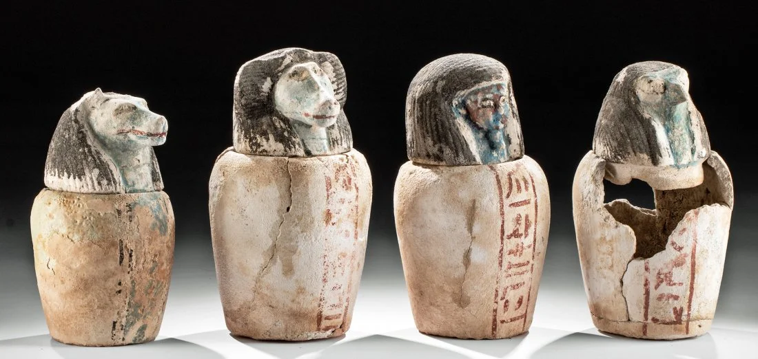 Rare set of Egyptian 26th Dynasty canopic jars