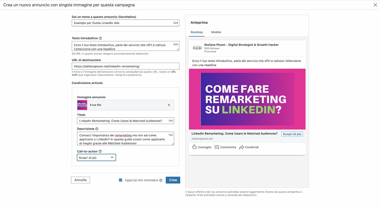 come funziona linkedin ads