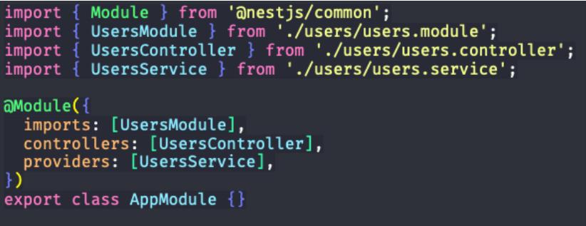 passo com a edição do app.module.ts para criação de users