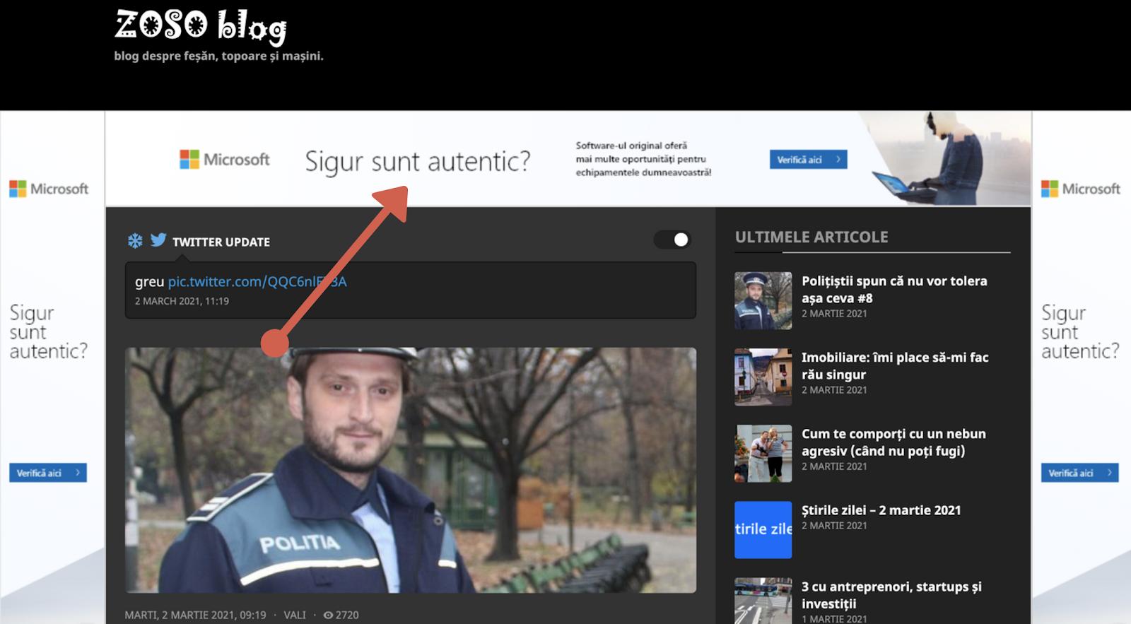 Exemplu publicitate pe blog