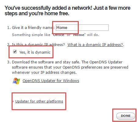 Configure OpenDNS