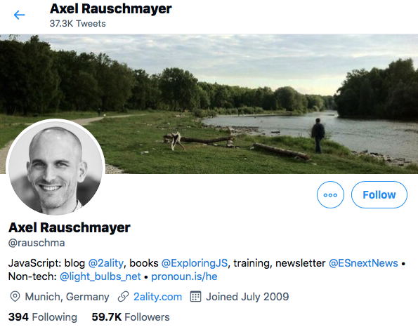 Top JavaScript Experts And Thought Leaders to Follow axel rauschmayer