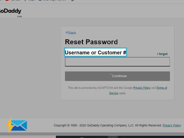 reset godaddy email password