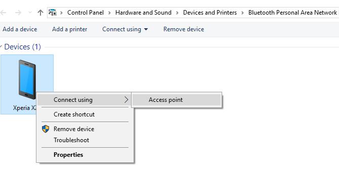 الاتصال بنقطة وصول إلى الربط عبر Android عبر Bluetooth في نظام التشغيل Windows 10