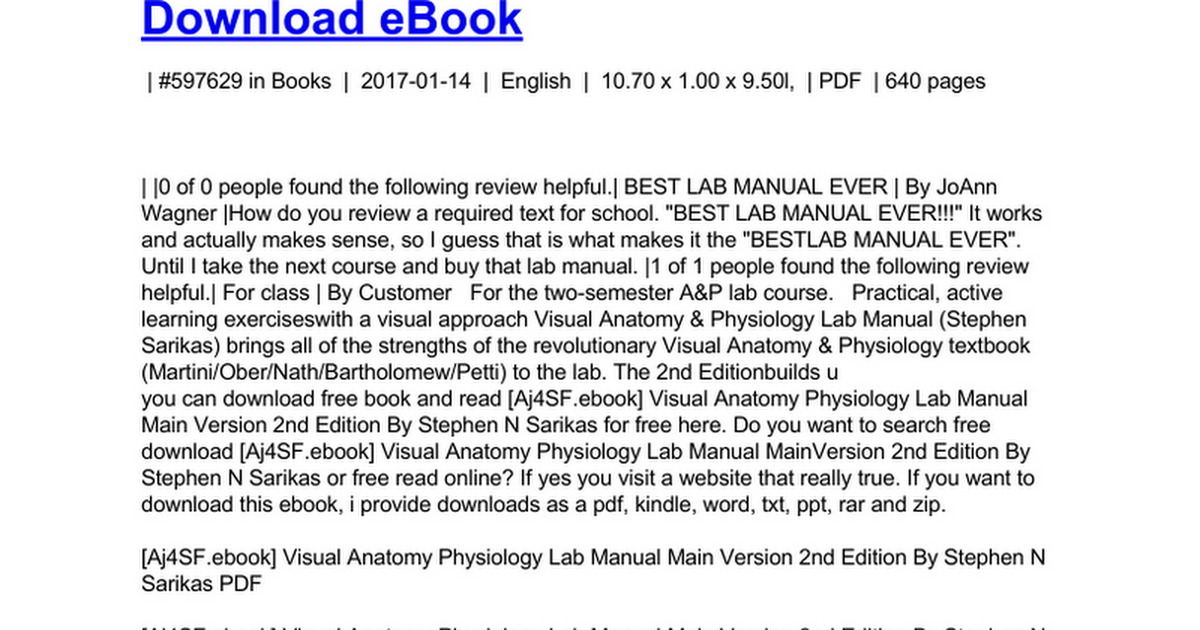 Dorable Visual Anatomy And Physiology 2nd Edition Pdf Image ...