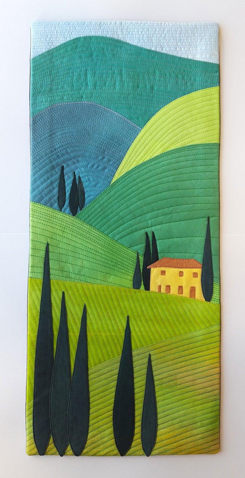 Tuscan hillside landscape quilt pattern