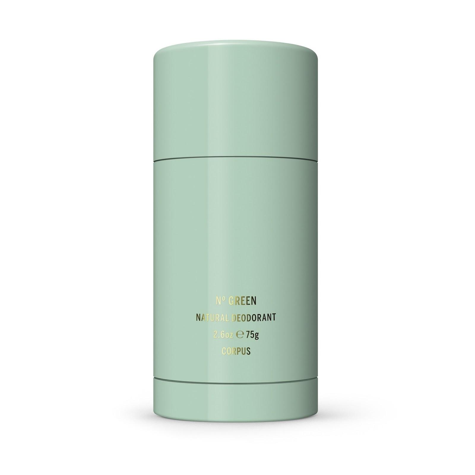 stick of natural deodorant in a mint green case