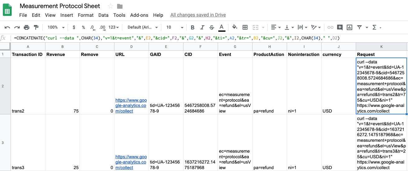 measurement protocol spreadsheet template.