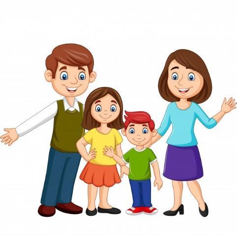Familia feliz de dibujos animados | Vector Premium