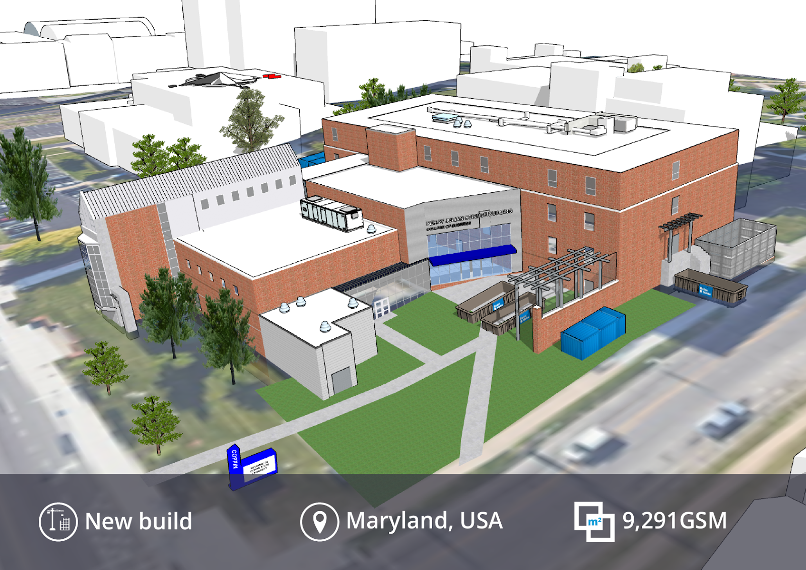 A SketchUp model of Coppin State University Percy Julian College of Business