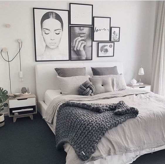White Painted Bedroom with Monochrome Frames