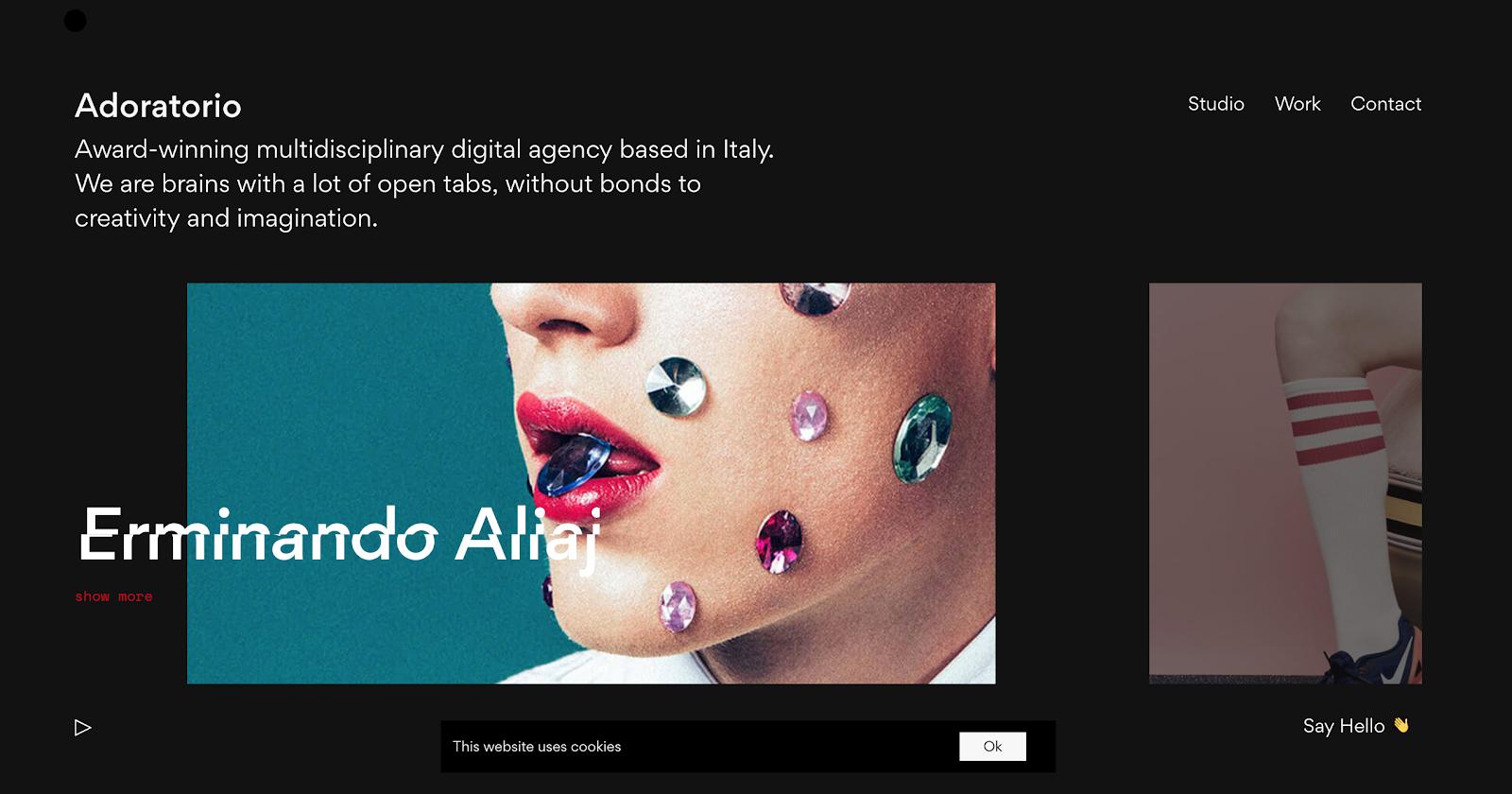 Portfolio en ligne de l'agence digitale Adoratorio