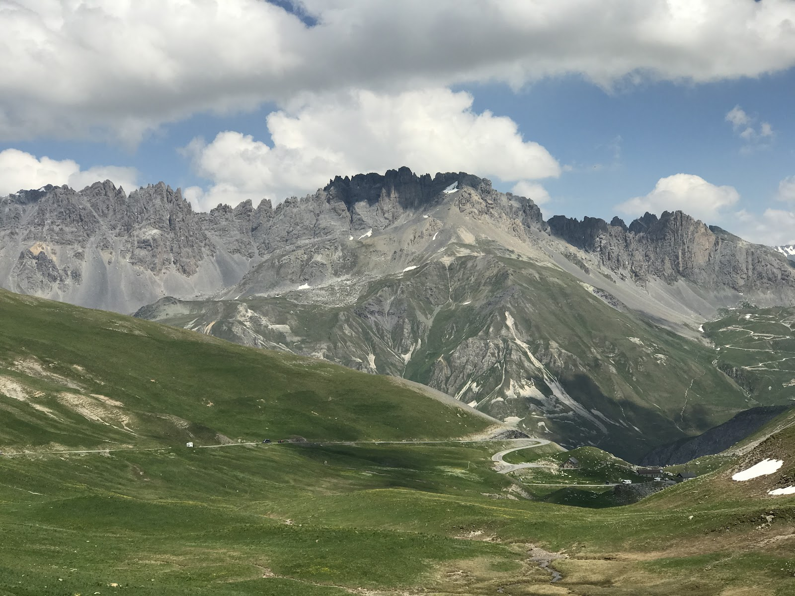 Bicycle climb of Col du Galibier from Villar-D'Arene - mountains and road